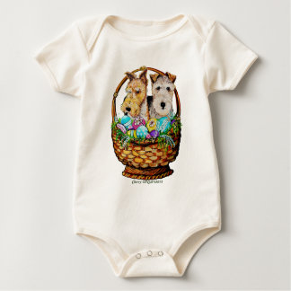 Easter Fox Terriers Baby Bodysuit