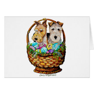 Easter Fox Terriers Greeting Card