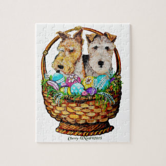Easter Fox Terriers Jigsaw Puzzle