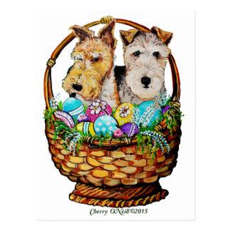 Easter Fox Terriers Postcard