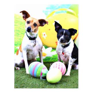 Easter - Fox Terriers - Sadie and Baboo Postcards