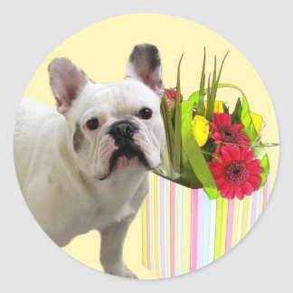 Easter French Bulldog large stickers