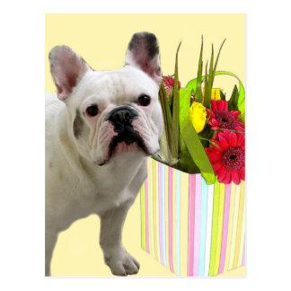 Easter French Bulldog postcard