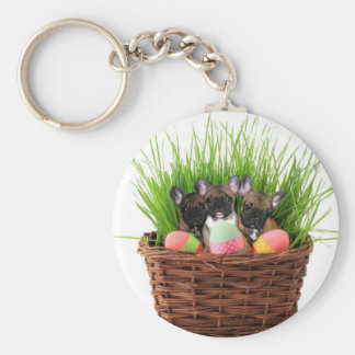 Easter french bulldog puppies basic round button keychain