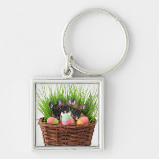 Easter french bulldog puppies Silver-Colored square keychain