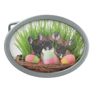 Easter French Bulldogs Belt Buckles