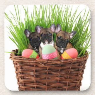 Easter French bulldogs cork coasters