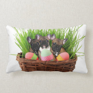 Easter French Bulldogs Lumbar Pillow