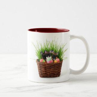 Easter French Bulldogs Two-Tone Coffee Mug