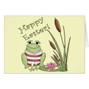 Funny easter frog greeting cards zazzle easter frog t shirts and easter gifts card negle Images