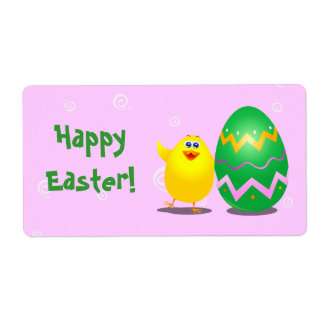 Easter funny chick, label