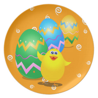 Easter funny chick, plate