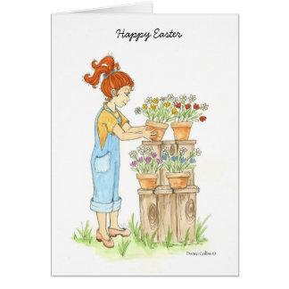 Easter garden greeting card