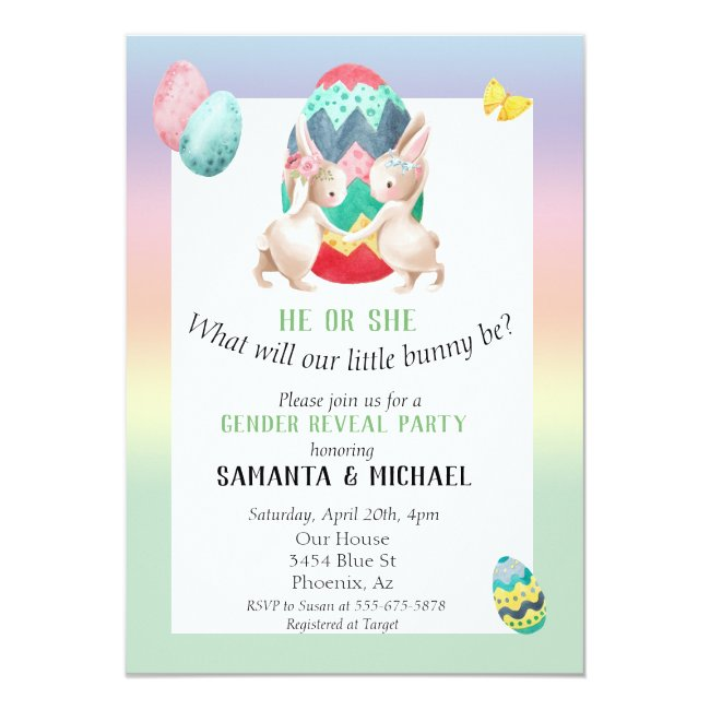 Easter Gender Baby Reveal Party Spring Bunny Invitation
