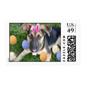 Easter German Shepherd Postage Stamp