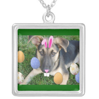 Easter German Shepherd Silver Plated Necklace