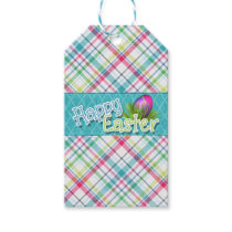 "Easter Gift Tag ""Happy Easter"" Stripe Pattern"