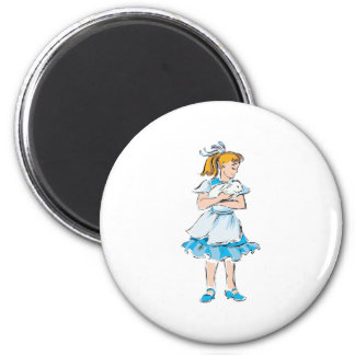 Easter Girl 2 Inch Round Magnet