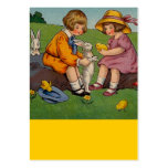 Easter Girl and boy with bunnies Business Card