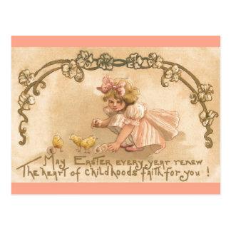 Easter- Girl Pink Dress Chicks - Antique Postcard