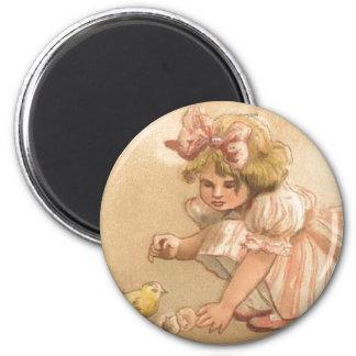 Easter- Girl Pink Dress Chicks - Antique Postcard 2 Inch Round Magnet