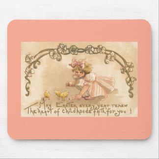 Easter- Girl Pink Dress Chicks - Antique Postcard Mouse Pad