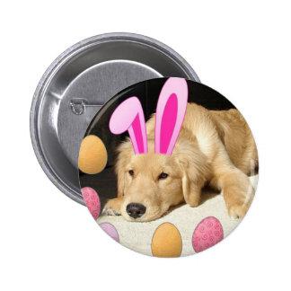 Easter Golden Retriever Button