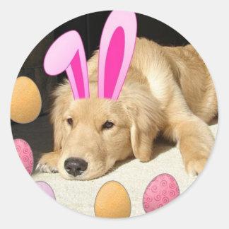 Easter Golden Retriever Classic Round Sticker