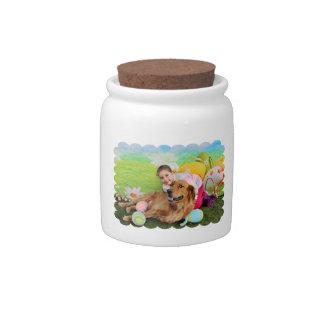 Easter - Golden Retriever - Copper Candy Jar