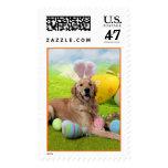 Easter - Golden Retriever - Frank Postage Stamp