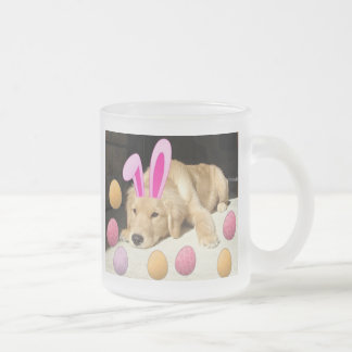 Easter Golden Retriever Frosted Glass Coffee Mug