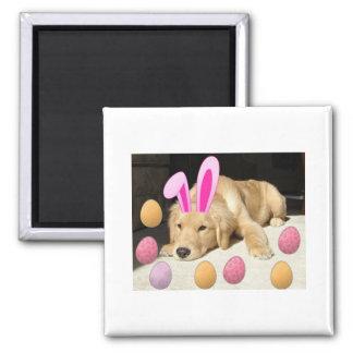 Easter Golden Retriever 2 Inch Square Magnet