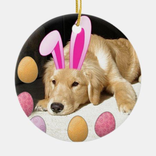 Easter Golden Retriever Puppy Ceramic Ornament