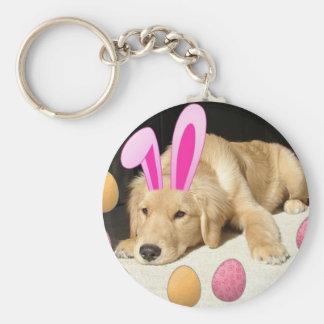 Easter Golden Retriever Puppy Keychain