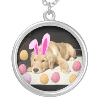 Easter Golden Retriever Puppy Silver Plated Necklace
