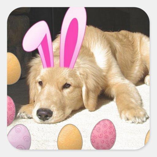 Easter Golden Retriever Puppy Square Sticker