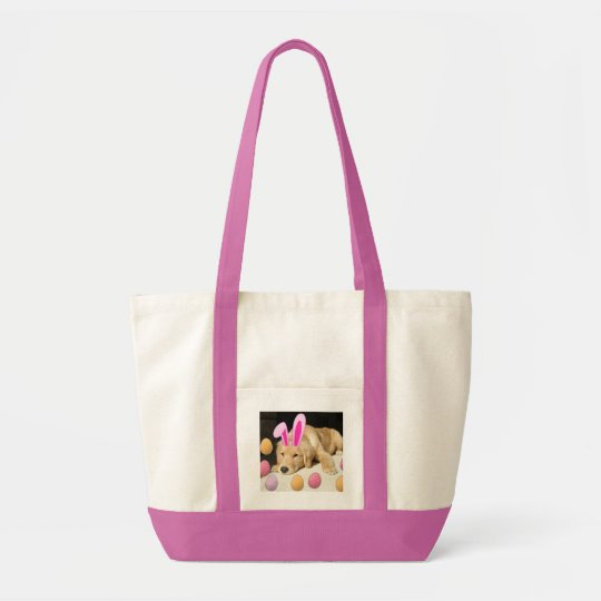 Easter Golden Retriever Puppy Tote Bag