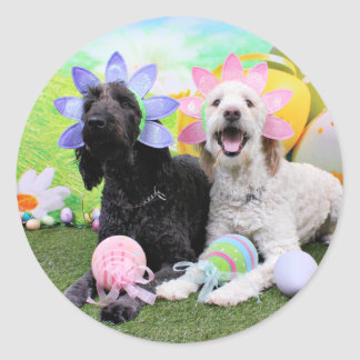 Easter - GoldenDoodles - Sadie and Izzie Classic Round Sticker