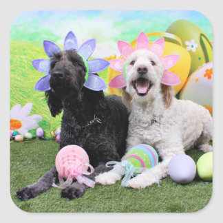 Easter - GoldenDoodles - Sadie and Izzie Square Sticker