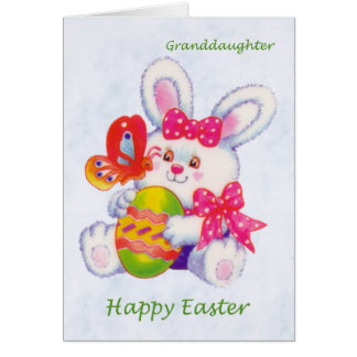 Easter. Granddaughter. Bunny, eggs and butterfly. Cards