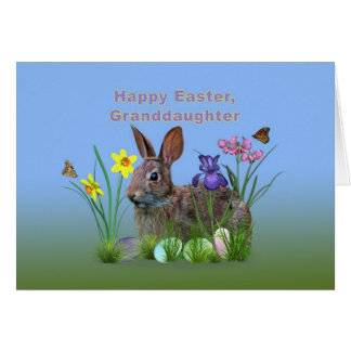 Granddaughter easter gifts on zazzle easter granddaughter bunny eggs flowers card negle Gallery