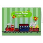 Easter - Grandson - Train/Bunnies/Balloons Card