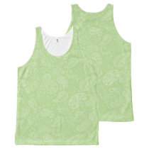 Easter Green Retro Paisley All-Over-Print Tank Top