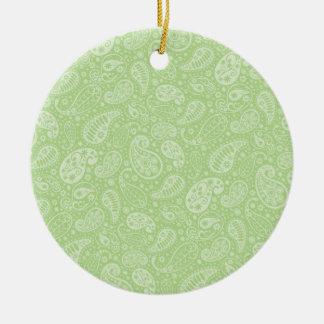 Easter Green Retro Paisley Ceramic Ornament