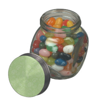 Easter Green Retro Paisley Glass Candy Jar
