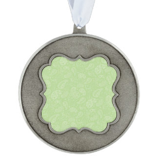 Easter Green Retro Paisley Pewter Ornament