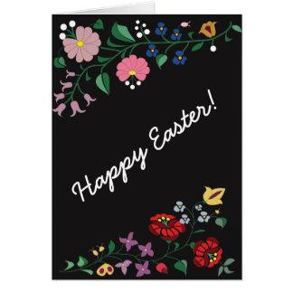 Easter greetig card- folk motifs, Black Card