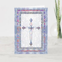 Elegant Easter Cross Greeting Card - Pretty Easter greeting card, with a pastel cross done on a white damask style background and pastel frame. A bible verse and greetings on the inside.
