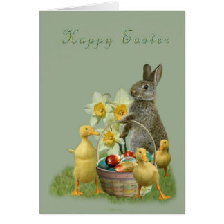 Easter greeting card bunny and ducklings