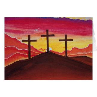 Easter Greeting Card Crosses Sunset Jesus Art